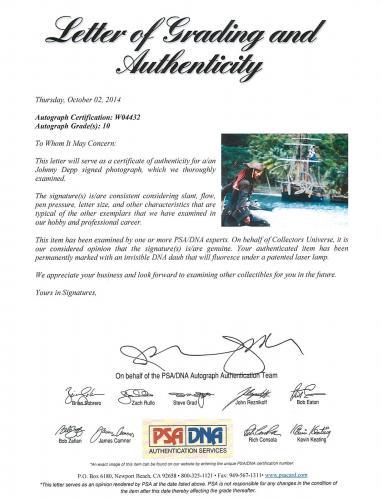 Johnny Depp Signed 11X14 Photo w/ Graded 10 Autograph! PSA/DNA #W04432