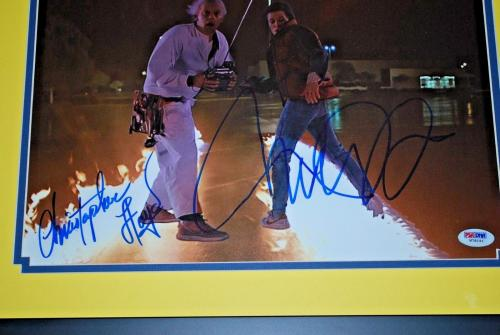 MICHAEL J FOX CHRISTOPHER LLOYD signed Framed PSA/DNA 11x14 BTTF COA