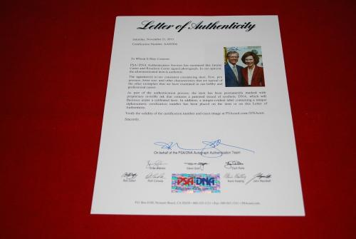 president JIMMY CARTER and ROSALYNN CARTER signed PSA/DNA 8x10 USA  LOA 2