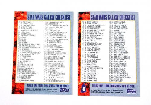 Lot of (10) 1993 Topps Star Wars Galaxy Rare Bend Em Variation Promo Checklist