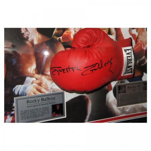 Signed Sylvester Stallone Glove Display- Rocky IV -Online Authentics
