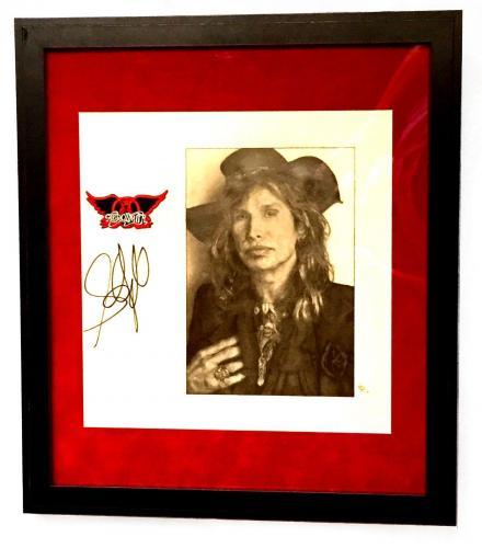 Steven Tyler Aerosmith Signed Framed & Matted Custom Hand Drawn Sketch Jsa Loa