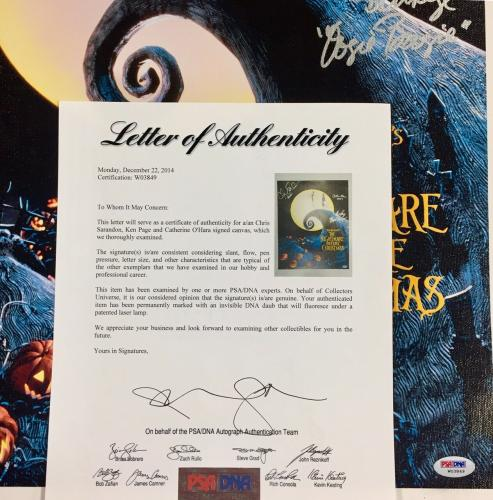 NIGHTMARE BEFORE CHRISTMAS Cast Signed 16x20 Canvas PSA/DNA COA w/ 3 autographs