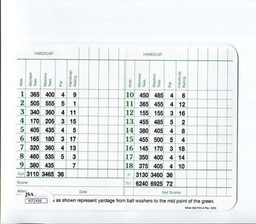 Gerald Ford Hand Signed Masters Golf Score Card       Awesome+very Rare     Jsa