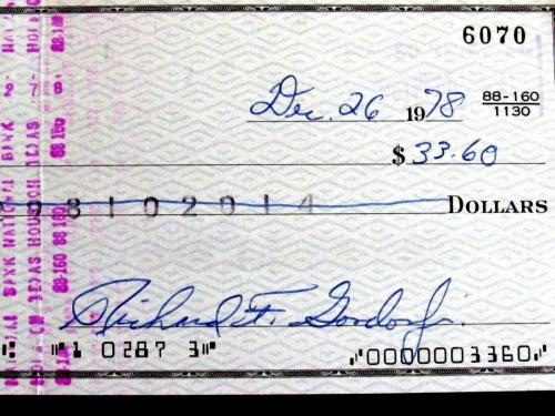 Richard F. Gordon Nasa Gemini 11 Apollo 12 Astronaut Signed Check Jsa Authentic