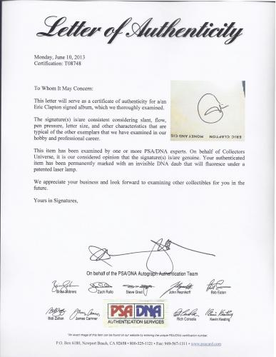 Eric Clapton Signed 'money And Cigerettes' Album Cover Psa/dna Loa