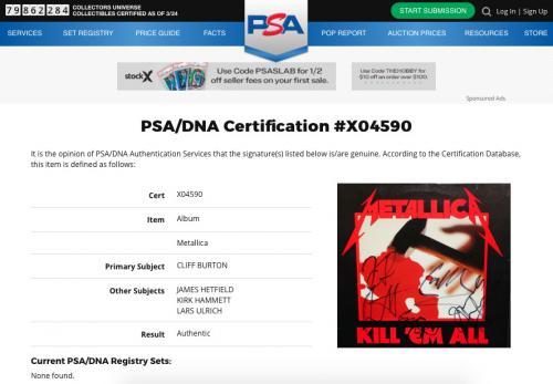 Metallica X4 Cliff Burton James Hetfield Kirk & Lars Signed Kill 'em All Psa Loa