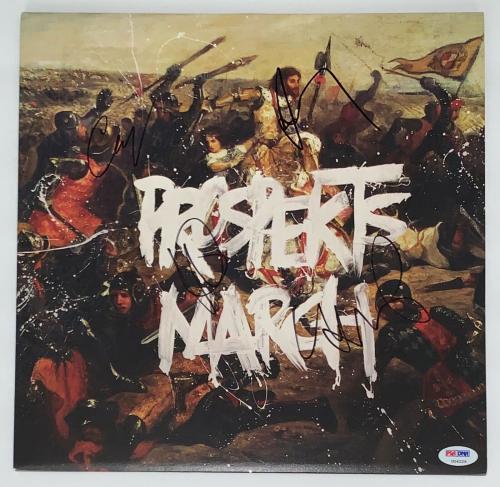Coldplay X4 Chris Martin Jonny Guy & Will Signed Prospekts March Record Psa Loa