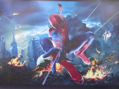 MARVEL COMICS STAN LEE signed 24x40 SPIDERMAN NEW YORK CITY GICLEE CANVAS JSA #5