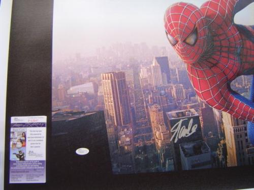 MARVEL COMICS STAN LEE signed 24x40 SPIDERMAN NEW YORK CITY GICLEE CANVAS JSA #2