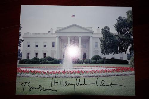President Bill Clinton & Hillary Clinton Signed Autographed 11x14 Photo Jsa Coa