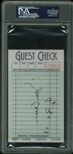 George H.W. Bush & Bill Clinton Signed 3.5x5.75 Guest Check Receipt PSA Slabbed