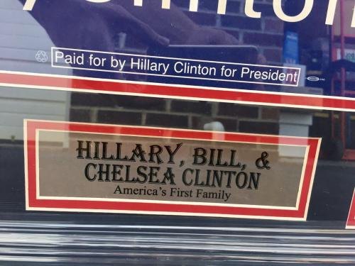Hillary Bill & Chelsea Clinton Signed Campaign Poster Framed JSA