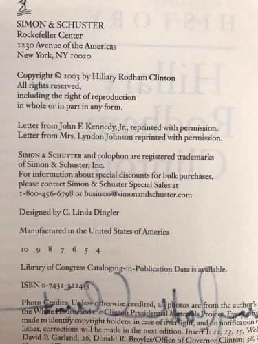 Hillary Rodham Clinton (Living History) 1/4 Signed Hardcover Book JSA D29629