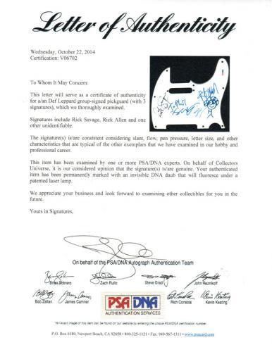 Def Leppard Autographed Signed Guitar PSA LOA V06702 UACC RD AFTAL COA