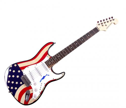 Angus Young Autographed Ac/Dc Signed U.S.A. Flag Guitar Video Proof