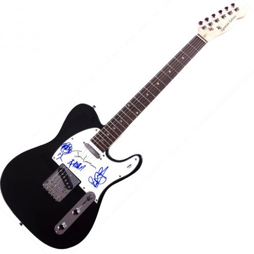 Def Leppard Signed X3 Autographed Telecaster Style Guitar UACC RD COA AFTAL