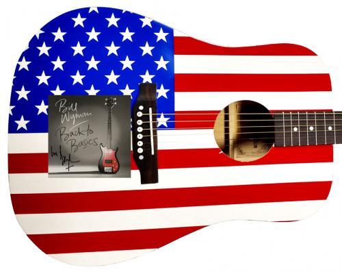 Bill Wyman Signed CD Cover USA Flag Acoustic Guitar UACC RD COA AFTAL