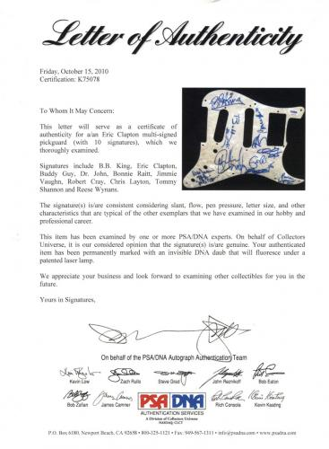 Eric Clapton BB King Buddy Guy + Signed Guitar Pickguard PSA LOA UACC RD AFTAL