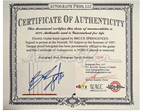 Bruce Springsteen Autographed Sunburst Tele Style Guitar w Display Case UACC RD