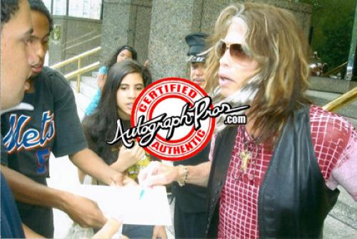 Aerosmith Steven Tyler Autographed Signed Red Guitar AFTAL UACC RD COA