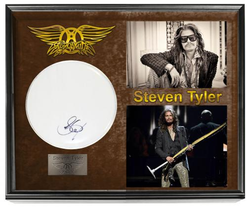 Aerosmith Steven Tyler Autographed Drumhead Drum Display Shadowbox Case