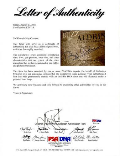 Buzz Aldrin SIGNED Magnificent Desolation Book 1st Ed Letter PSA/DNA AUTOGRAPHED