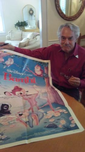 DONNIE DUNAGAN Signed Full Size Vintage BAMBI Poster PSA/DNA COA Proof Pic B