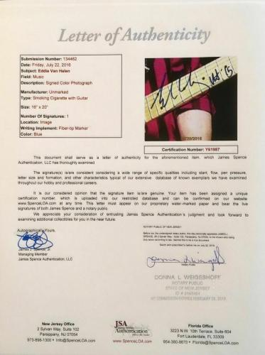 VINTAGE-EDDIE VAN HALEN autographed color 16x20-PERFECT signature-JSA Y61987