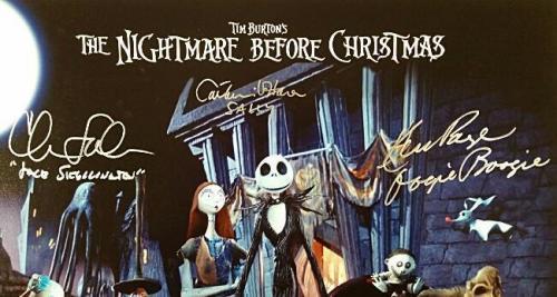 Nightmare Before Christmas Cast (3) signed 16x20 Photo Sarandon O'hara PSA COA