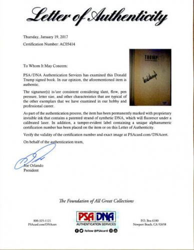President Donald Trump SIGNED The Art of the Comeback LETTER PSA/DNA AUTOGRAPHED