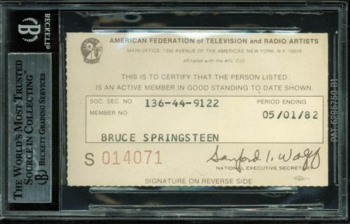 Bruce Springsteen Signed 2.75x3.75 AFTRA Union Membership Card BAS Slabbed