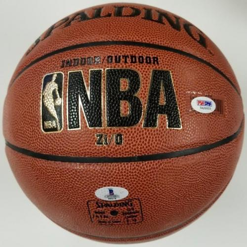 "MAGIC JOHNSON & CHEVY CHASE ""Fletch"" Signed Basketball BAS + PSA/DNA COA Lakers"