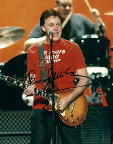 The Beatles Paul McCartney Playing Hofner Bass Guitar Autographed Signed Photo A