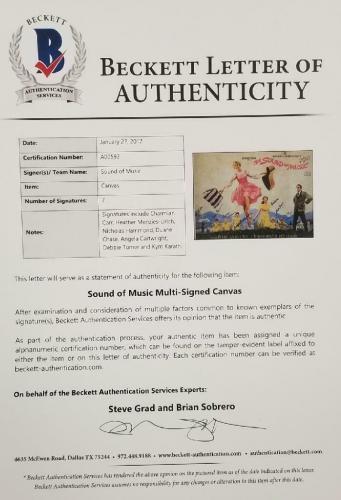 SOUND OF MUSIC Cast Signed 16x20 Canvas (7) Autographs ~ Beckett BAS COA