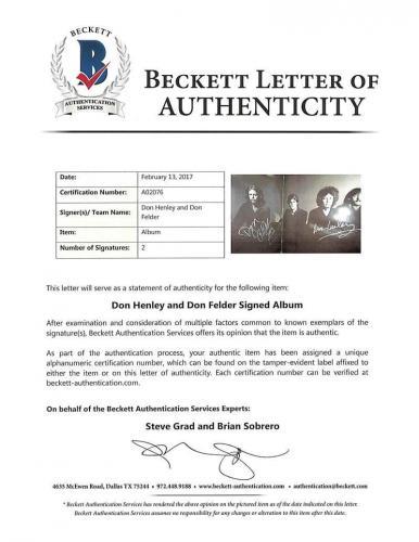 Eagles The Long Run Album Signed Autographed Don Henley Don Felder Beckett BAS