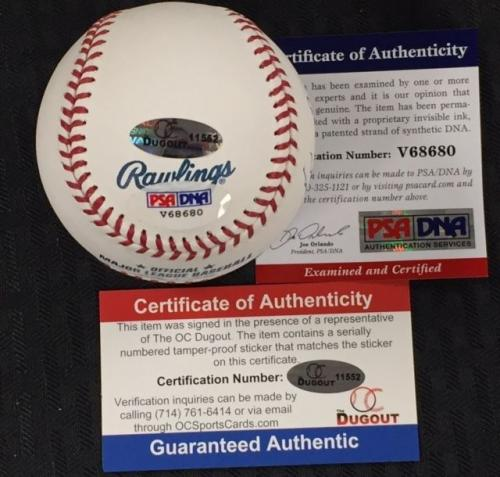 SIR ROGER MOORE Signed Rawlings Baseball PSA/DNA COA ~ JAMES BOND 007 Autograph