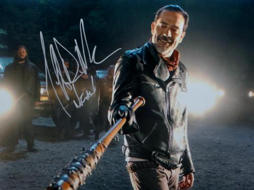 Jeffrey Dean Morgan Negan Signed Walking Dead 16x20 W/ Lucille Photo- JSA W Auth