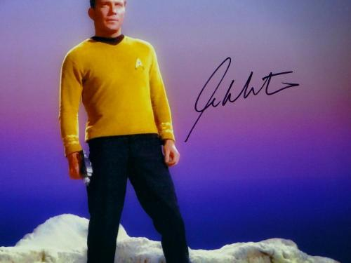 William Shatner Signed Star Trek 16x20 Standing on Rock *Blk/Right JSA W Auth