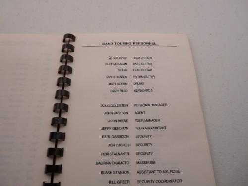 Guns & Roses RARE 1991 Europe Leg Use Your Illusion Concert Tour Itinerary Book