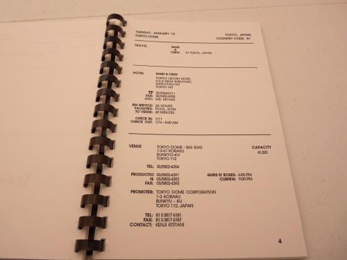 Guns & Roses RARE 1993 Australia Japan New Zealand Concert Tour Itinerary
