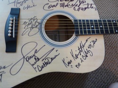Country Music HOF Signed Guitar W Lyrics X 11 Haggard Jones Nelson PSA Certified