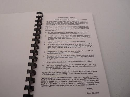 Guns & Roses 1992 South America Use Your Illusion Concert Tour Itinerary Book