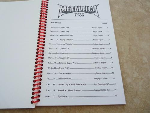 Metallica Madly In Anger Japan Crew 2003 RARE Band Concert Tour Itinerary Book