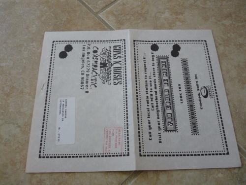 Guns & Roses Band RARE July 1991 Conspiracy Fan Club News Letter Axl Slash Izzy