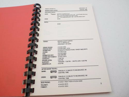 Cinderella 1989 Long Cold Winter Rock Band  Concert Tour Itinerary Book #5