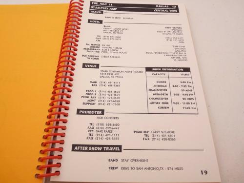 Motley Crue 2000 New Tattoo Maximum Rock Concert Tour Itinerary Book