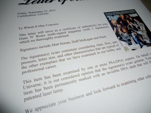 Slash Duff & Matt Guns Roses Signed 1991 Rolling Stone Magazine PSA Certified #1