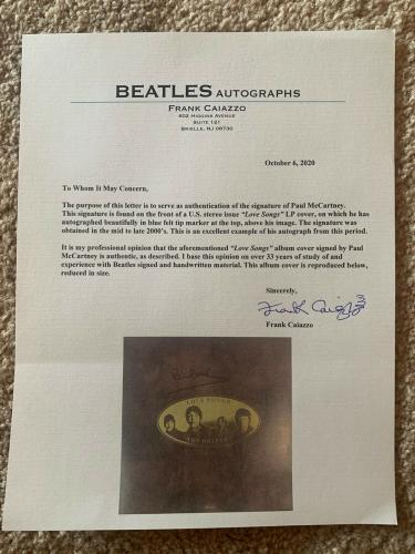 Paul McCartney Beatles IP Signed Autographed Love Songs LP Caiazzo PSA Certified
