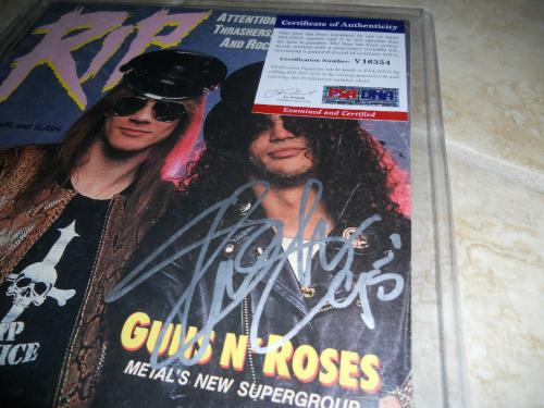 Slash Guns & Roses Signed Autoographed 1988 RIP Magazine PSA Certified #1